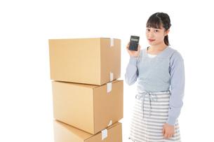 引っ越しをする若い女性の写真素材 [FYI04717289]