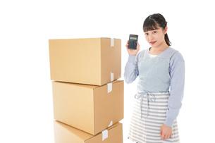 引っ越しをする若い女性の写真素材 [FYI04717290]