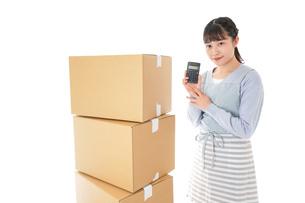 引っ越しをする若い女性の写真素材 [FYI04717291]