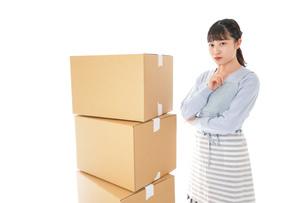 引っ越しをする若い女性の写真素材 [FYI04717296]