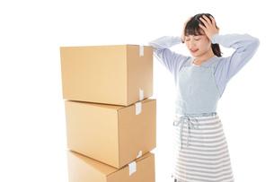 引っ越しをする若い女性の写真素材 [FYI04717299]
