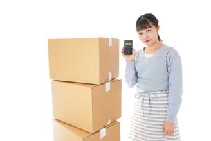 引っ越しをする若い女性の写真素材 [FYI04717301]