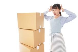 引っ越しをする若い女性の写真素材 [FYI04717302]
