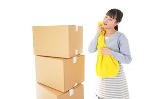 引っ越しをする若い女性の写真素材 [FYI04717304]