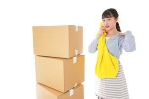 引っ越しをする若い女性の写真素材 [FYI04717307]