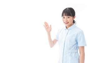 ナース服を着た若い笑顔の看護師の写真素材 [FYI04718278]