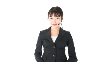 若い女性オペレーター・同時通訳イメージの写真素材 [FYI04718553]