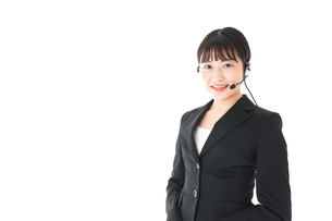 若い女性オペレーター・同時通訳イメージの写真素材 [FYI04718556]