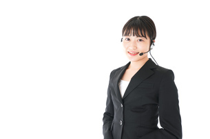 若い女性オペレーター・同時通訳イメージの写真素材 [FYI04718560]