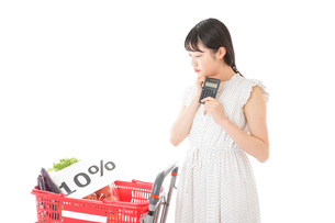 消費税増税・ショッピングイメージの写真素材 [FYI04718610]