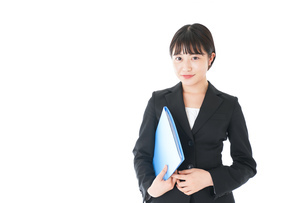 笑顔のスーツを着たビジネスウーマンの写真素材 [FYI04720166]