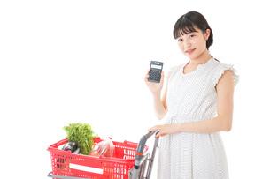 家計を計算する若い主婦の写真素材 [FYI04720307]