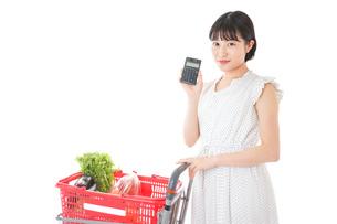 家計を計算する若い主婦の写真素材 [FYI04720312]
