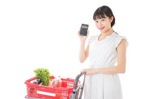 家計を計算する若い主婦の写真素材 [FYI04720313]