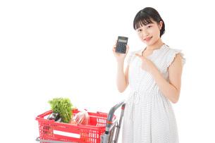 家計を計算する若い主婦の写真素材 [FYI04720314]