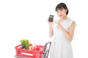 家計を計算する若い主婦の写真素材 [FYI04720317]