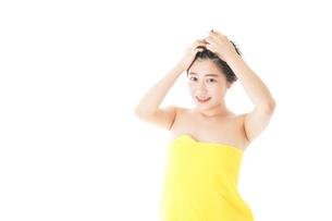 シャンプーをする若い女性の写真素材 [FYI04720462]
