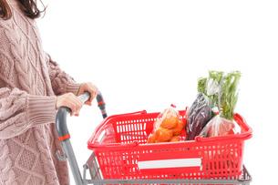 食料品の買い物をする若い女性の写真素材 [FYI04720903]