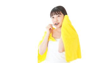 歯みがきをする若い女性の写真素材 [FYI04721008]
