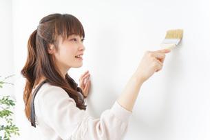 DIY・ペンキを塗る女性の写真素材 [FYI04723079]