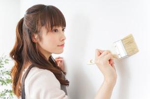 DIY・ペンキを塗る女性の写真素材 [FYI04723089]