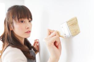 DIY・ペンキを塗る女性の写真素材 [FYI04723100]