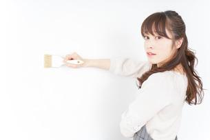 DIY・ペンキを塗る女性の写真素材 [FYI04723101]