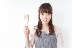 DIY・ペンキを塗る女性の写真素材 [FYI04723115]