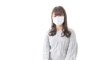 風邪をひいた女性の写真素材 [FYI04723434]