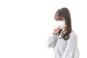風邪をひいた女性の写真素材 [FYI04723443]
