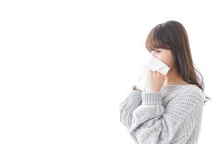 風邪・花粉症で鼻をかむ女性の写真素材 [FYI04723497]