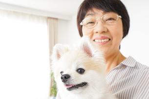 犬を飼うシニア女性の写真素材 [FYI04723615]