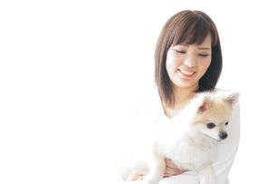 犬を抱く女性・ブリーダーの写真素材 [FYI04723724]