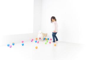 犬と一緒に遊ぶ子どもの写真素材 [FYI04723860]