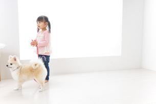 犬の散歩をする子どもの写真素材 [FYI04723906]