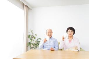 家でリラックスをするシニア夫婦の写真素材 [FYI04724099]