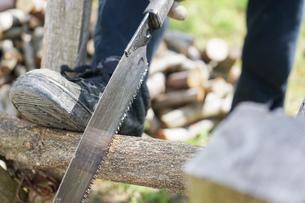 薪割りをするシニアの写真素材 [FYI04724681]