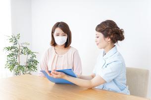 病院で説明を聞く女性の写真素材 [FYI04725897]