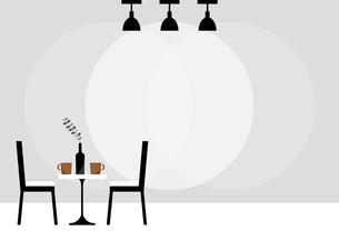 黒い椅子のテーブルセットと照明のイラストのイラスト素材 [FYI04728006]