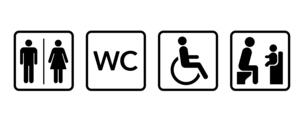 公衆トイレのアイコン 身体障害者やベビーチェアのイラスト素材 [FYI04728146]
