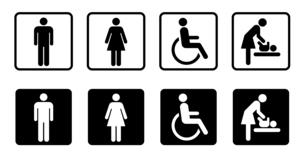 トイレのアイコン 男女や身体障害者やベビーシートのイラスト素材 [FYI04728151]