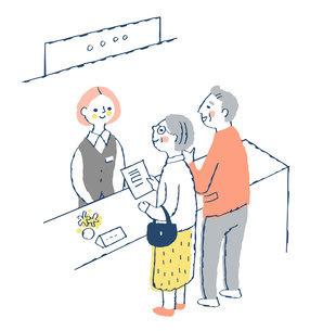 受付窓口 受付係の女性とシニア夫婦のイラスト素材 [FYI04728169]