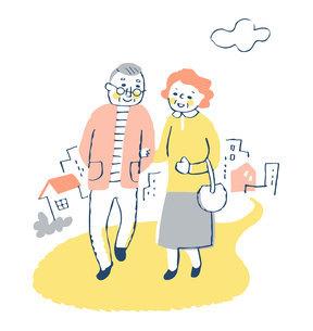 散歩を楽しむシニア夫婦のイラスト素材 [FYI04728453]