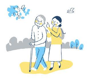 散歩を楽しむシニア夫婦のイラスト素材 [FYI04728454]