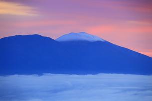 美ヶ原高原美術館付近から望む新雪の浅間山と雲海と朝焼けの写真素材 [FYI04728630]