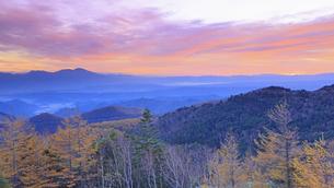 美ヶ原高原美術館付近から望む浅間山と朝焼けと紅葉の樹林の写真素材 [FYI04728637]