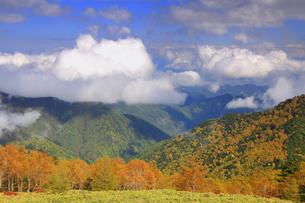 美ケ原自然保護センター付近から望む上田方向の紅葉の樹林と雲の写真素材 [FYI04728650]