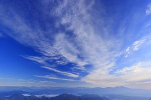 美ヶ原高原美術館付近から望む浅間山などの山並みと秋空の写真素材 [FYI04728655]