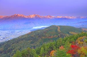 鷹狩山から望む朝日に染まる仁科三山と白馬連峰と紅葉の樹林の写真素材 [FYI04728678]