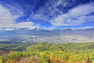 鷹狩山から望む蓮華岳などの山並みと大町市街と紅葉の樹林の写真素材 [FYI04728686]